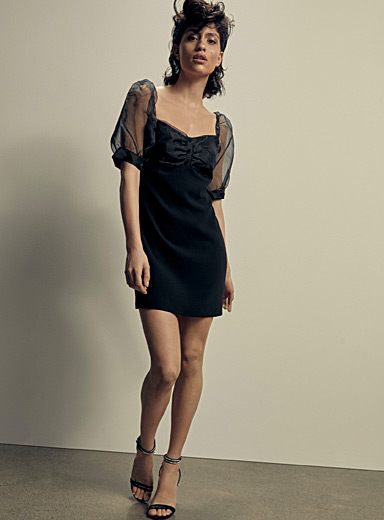 Icône Black Puff-shoulder organza dress for women