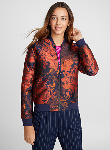 Asian brocade bomber jacket