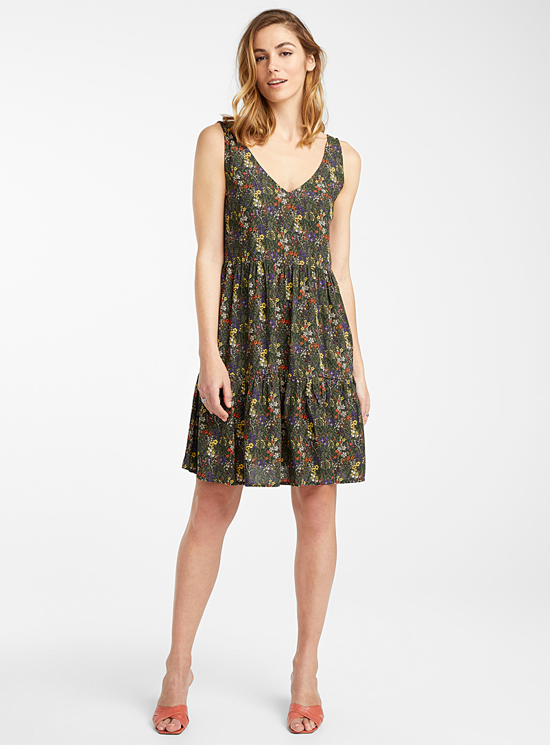 Icône Patterned Black Tropical graphic eco-friendly viscose dress for women