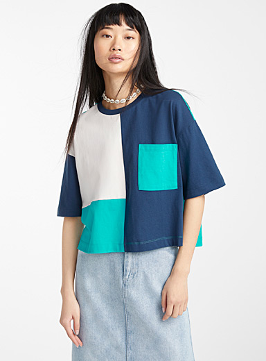 Organic cotton patchwork cropped tee