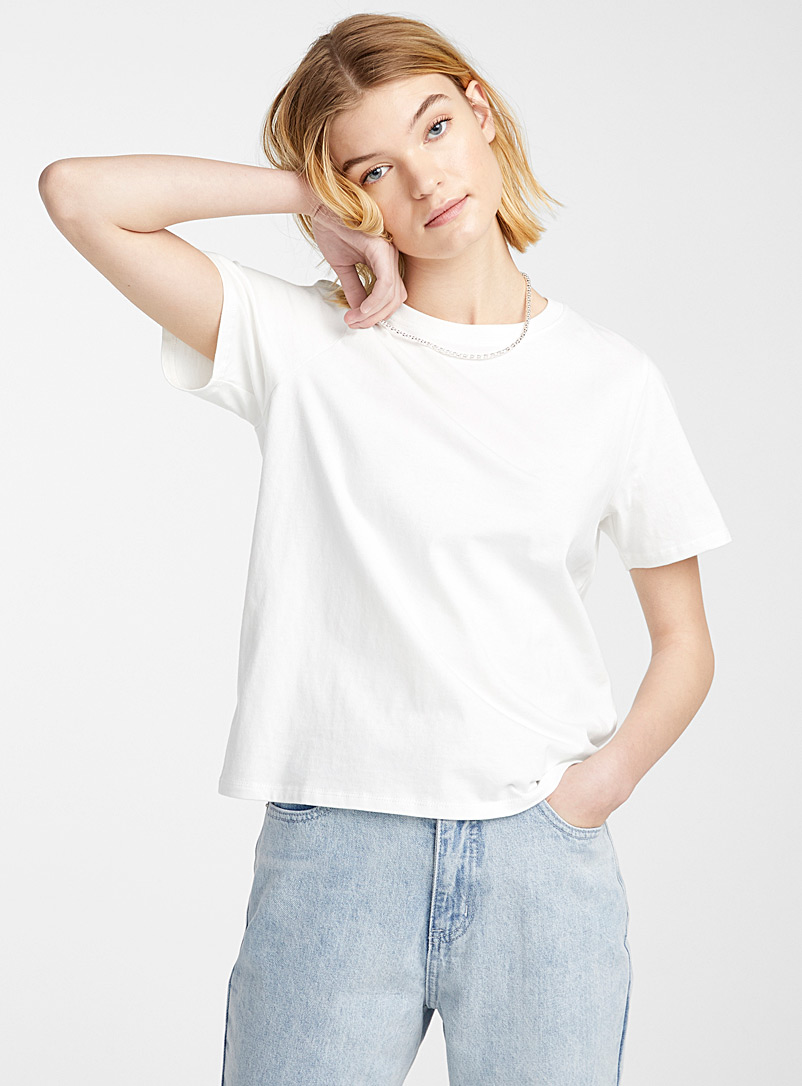 Twik White Organic cotton basic T-shirt for women