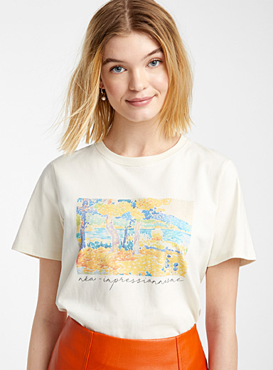 Twik Ivory White Colourful print tee for women