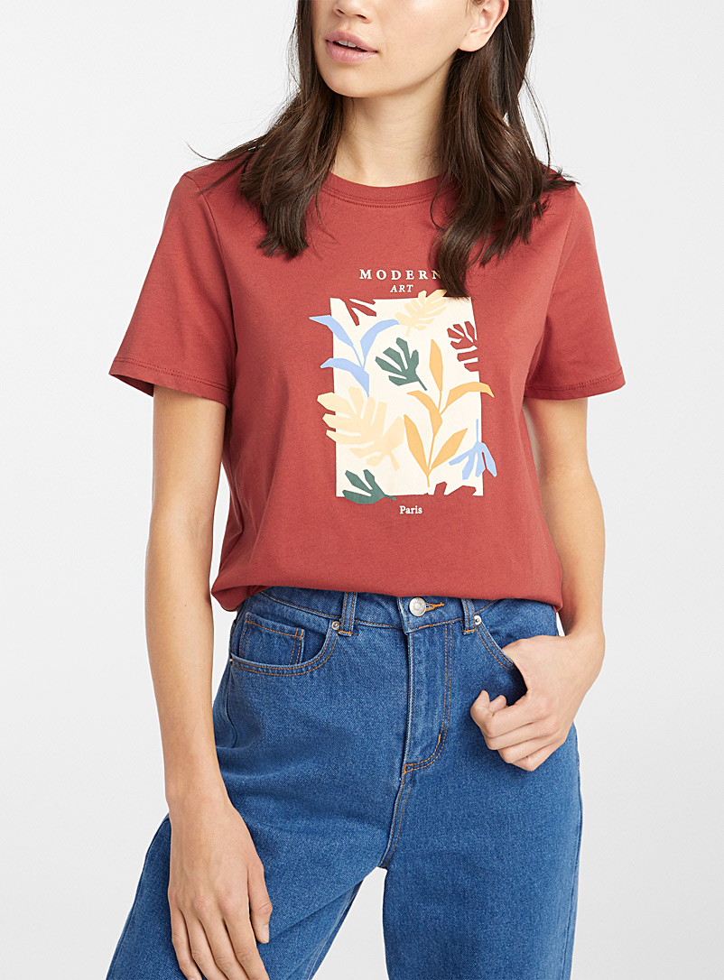Twik Black and White Colourful print tee for women