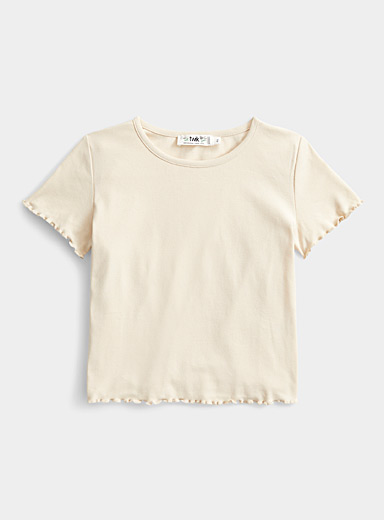 Organic cotton accent-ruffle tee