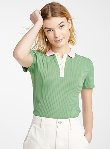 Finely ribbed polo