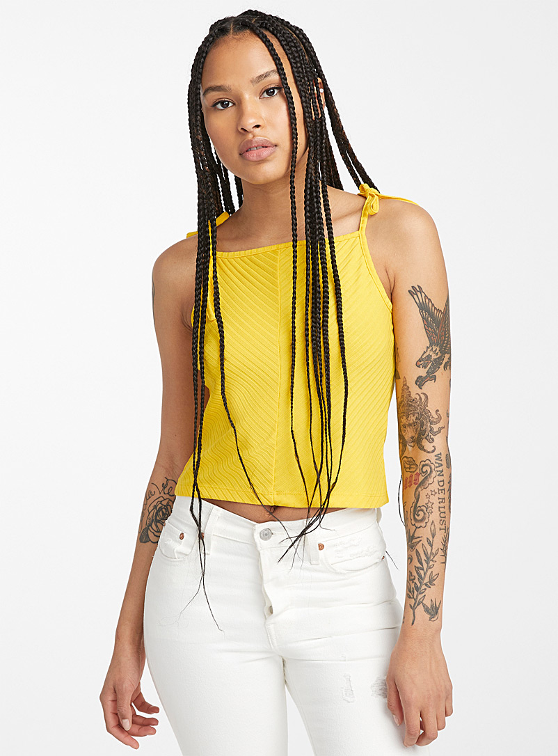 Twik Golden Yellow Tie-strap ribbed cami for women