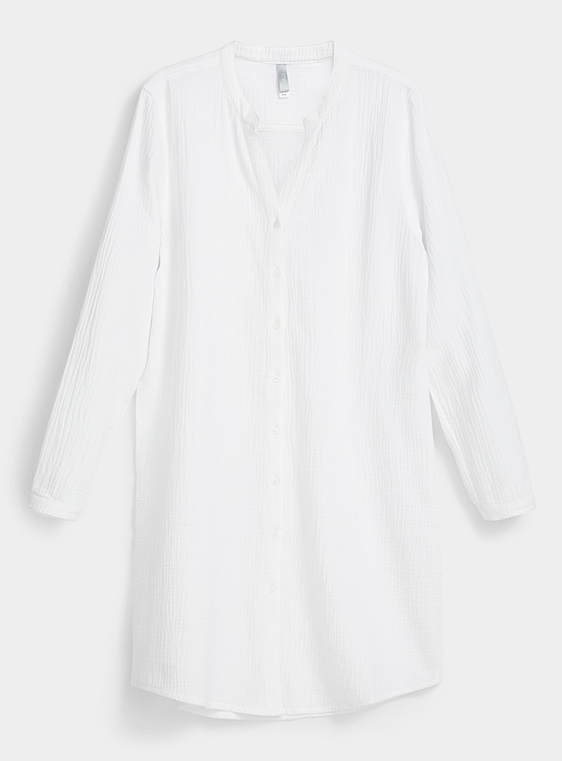 Miiyu Cream Beige White waffled nightshirt for women