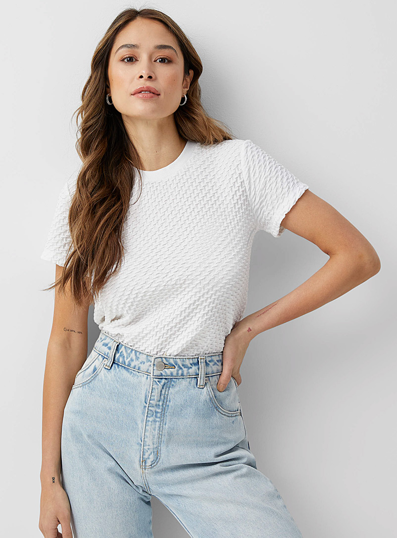 Icône White Organic cotton braided tee for women