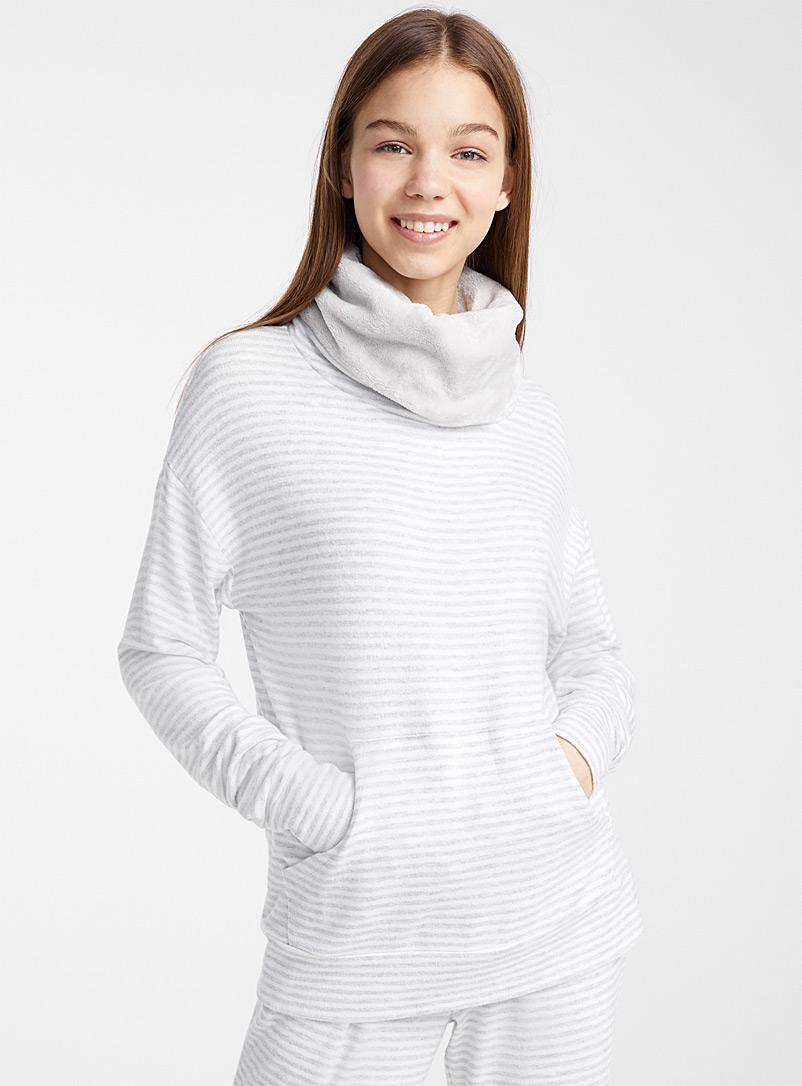 Miiyu x Twik Patterned Grey Patterned heathered turtleneck for women