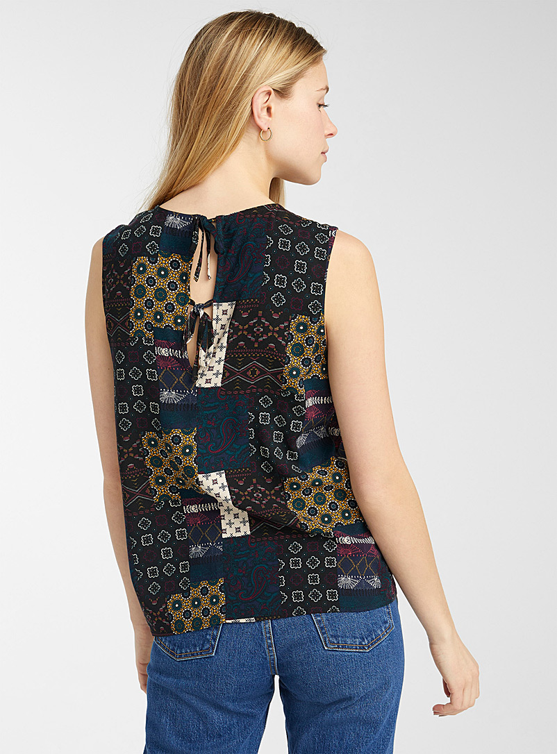 Twik Patterned Grey Eco-friendly viscose bow-back cami for women