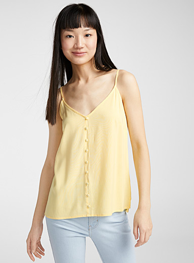 Twik Light Yellow Eco-friendly viscose buttoned cami for women