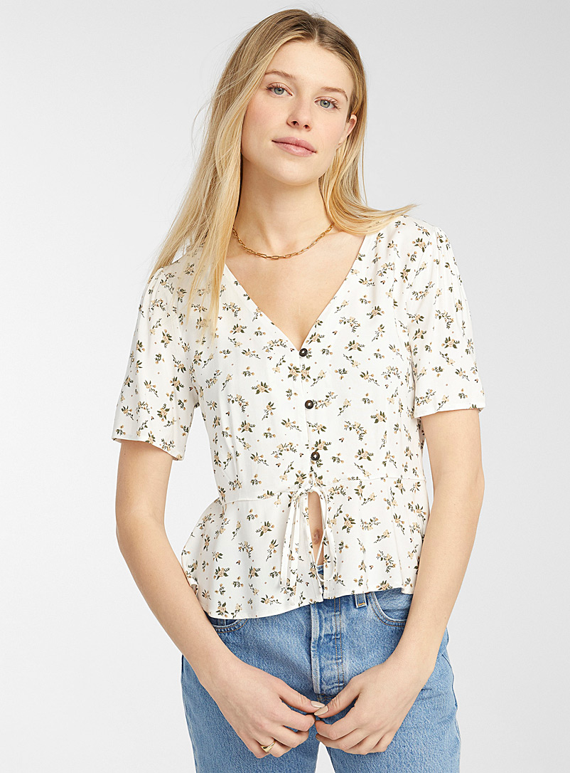 Twik Patterned White Buttoned prairie blouse for women