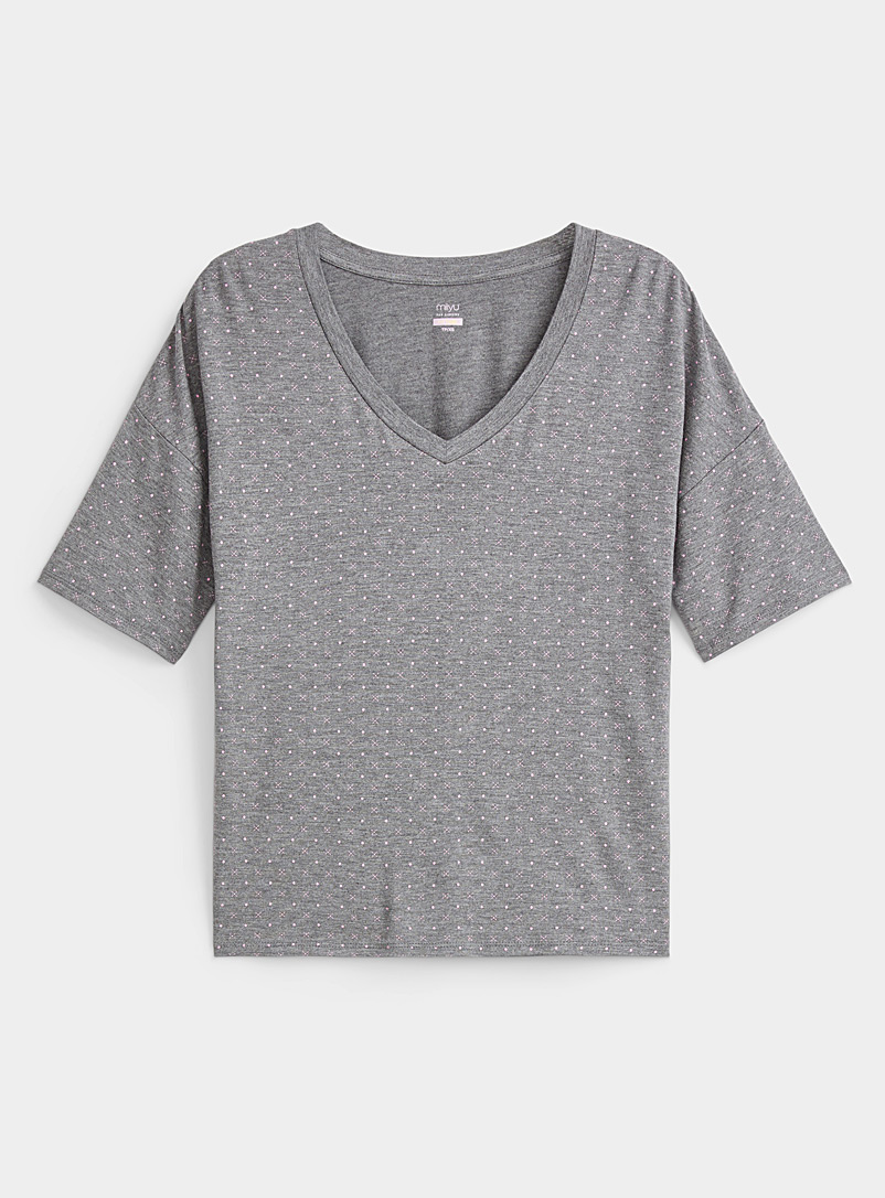 Miiyu x Twik Patterned Grey Summer vibe tee for women