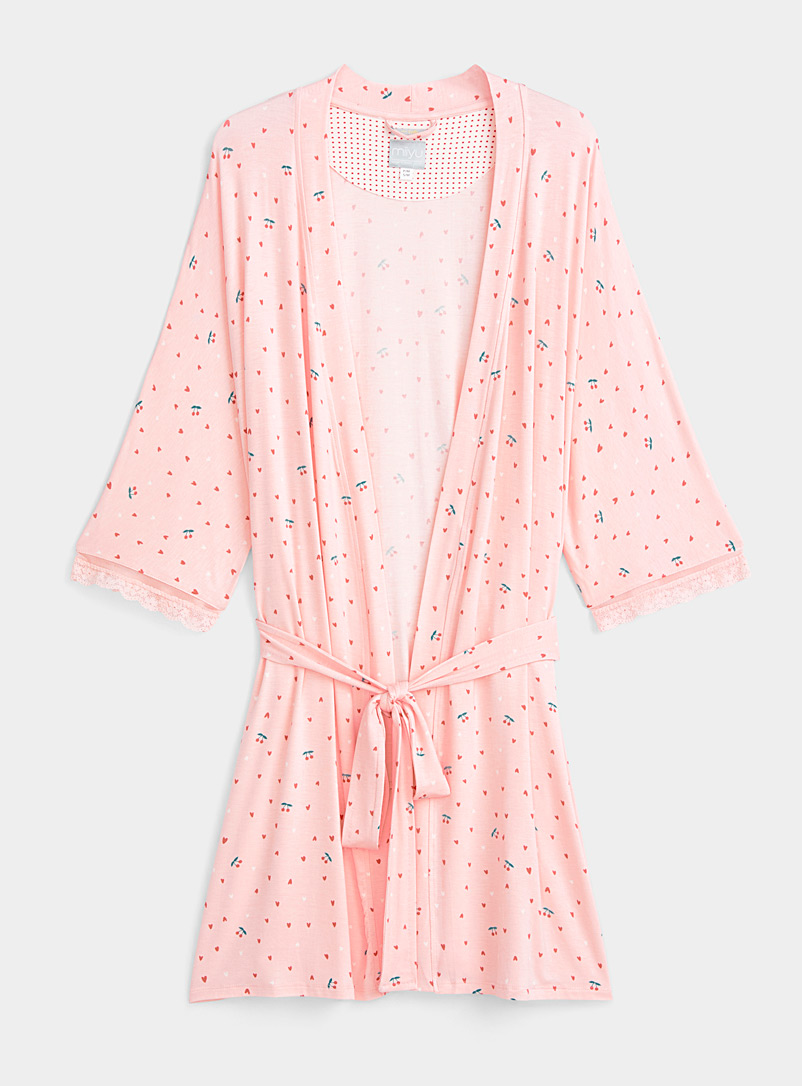Miiyu x Twik Pink Bucolic-style robe for women