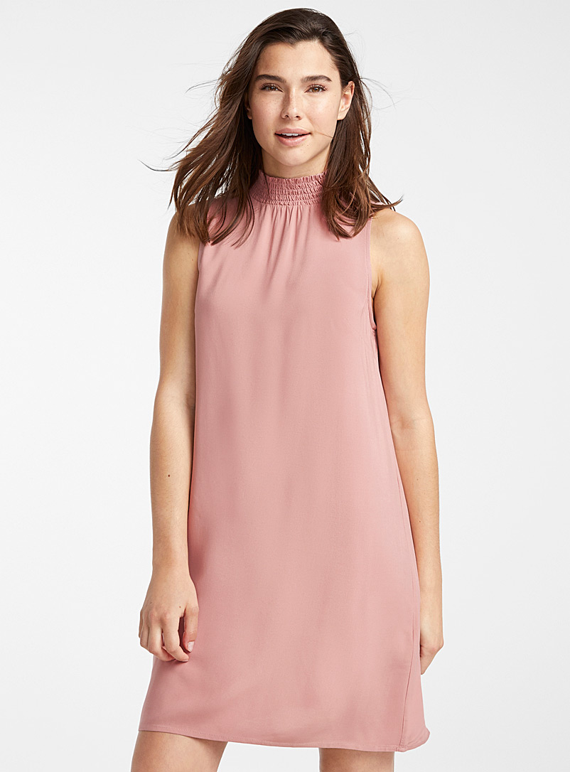 Twik Pink Eco-friendly viscose high-neck dress for women
