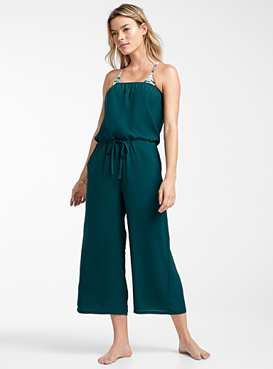 Simons Slate Blue Wide-leg bandeau jumpsuit for women