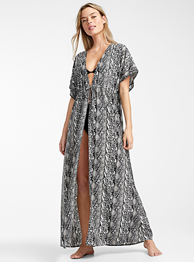 Long recycled polyester caftan