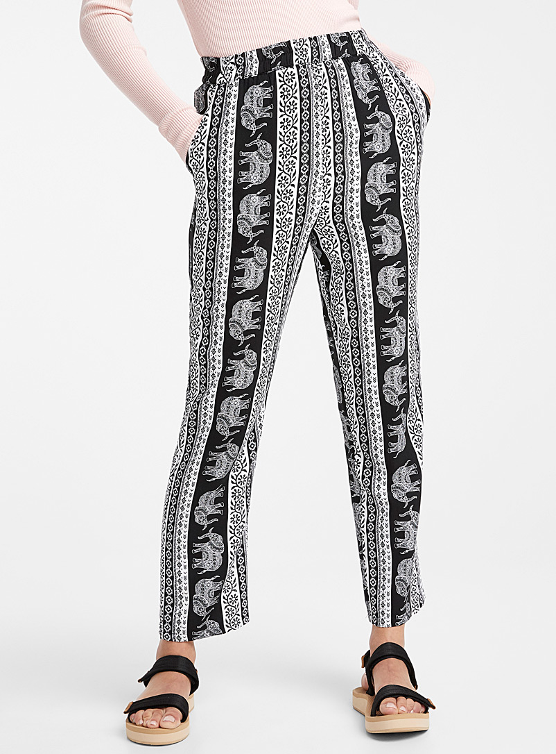 Twik Black and White Eco-friendly viscose summer pant for women