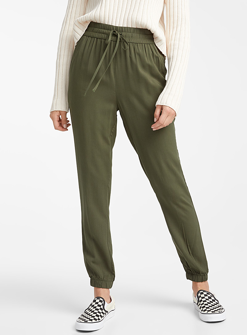 Twik Khaki Eco-friendly viscose basic joggers for women