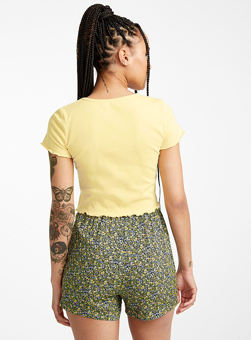 Twik Patterned Brown Eco-friendly viscose printed short for women