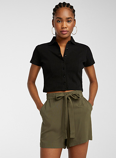 Eco-friendly viscose bouclé waist short