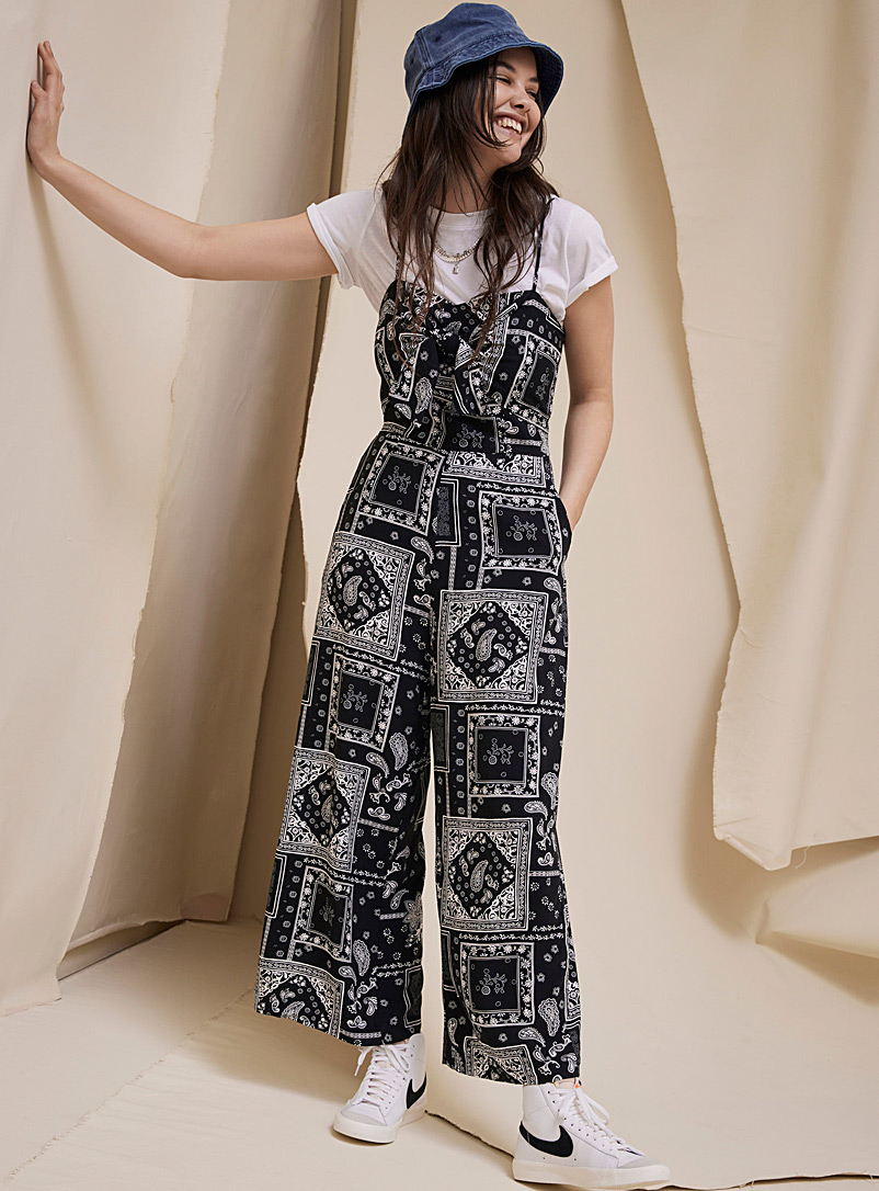 Twik Oxford Accent-bow gaucho jumpsuit for women