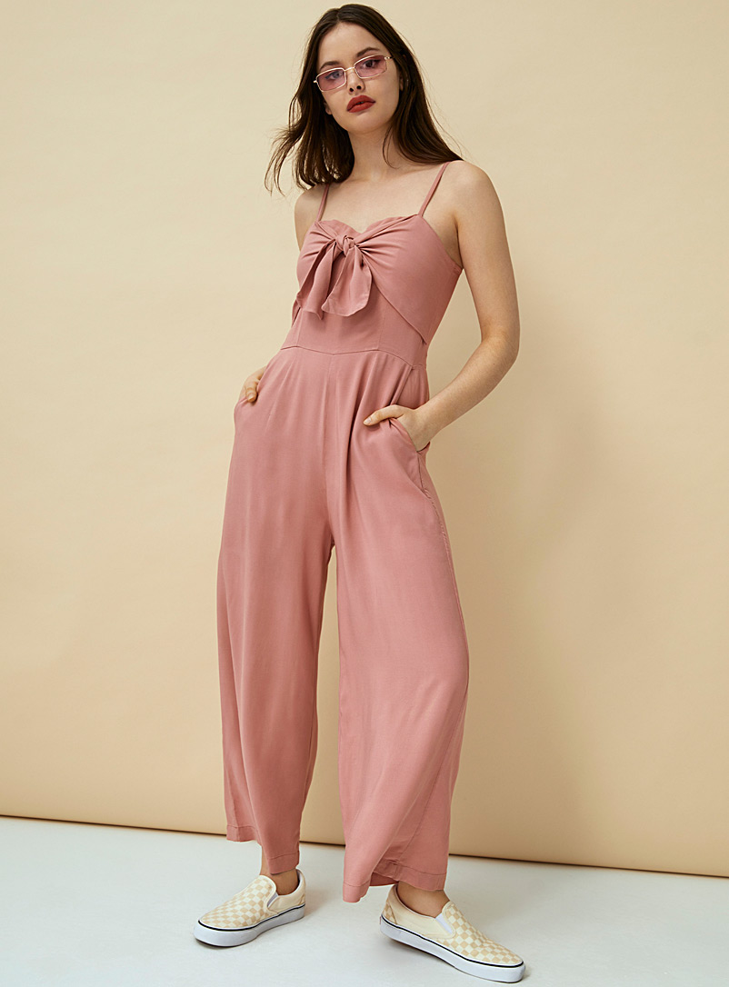 Twik Pink Accent-bow gaucho jumpsuit for women