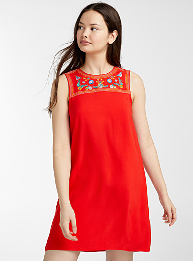 Twik Red Floral embroidery bib dress for women