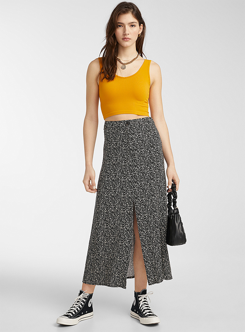 Twik Patterned Black Scent of summer printed maxi skirt for women