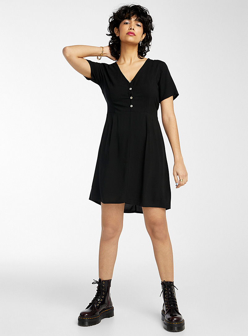 Twik Black Buckle waist buttoned dress for women