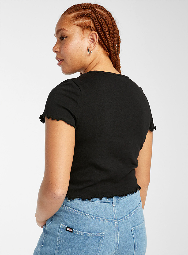 Twik Black Organic cotton embroidered ruffle tee for women
