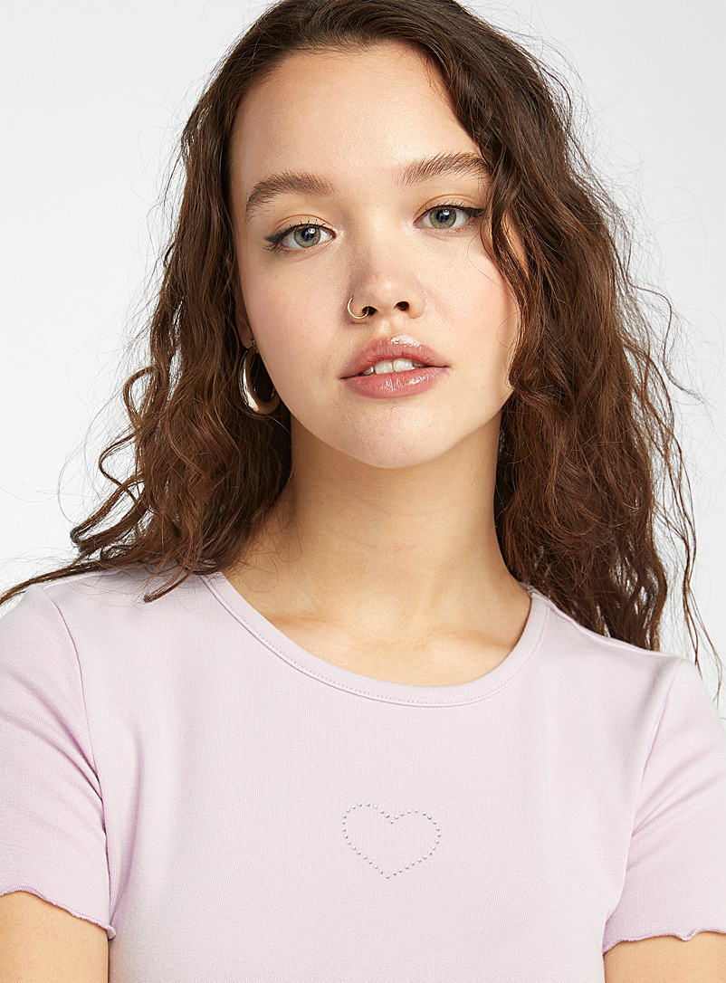 Twik Lilacs Organic cotton embroidered ruffle tee for women