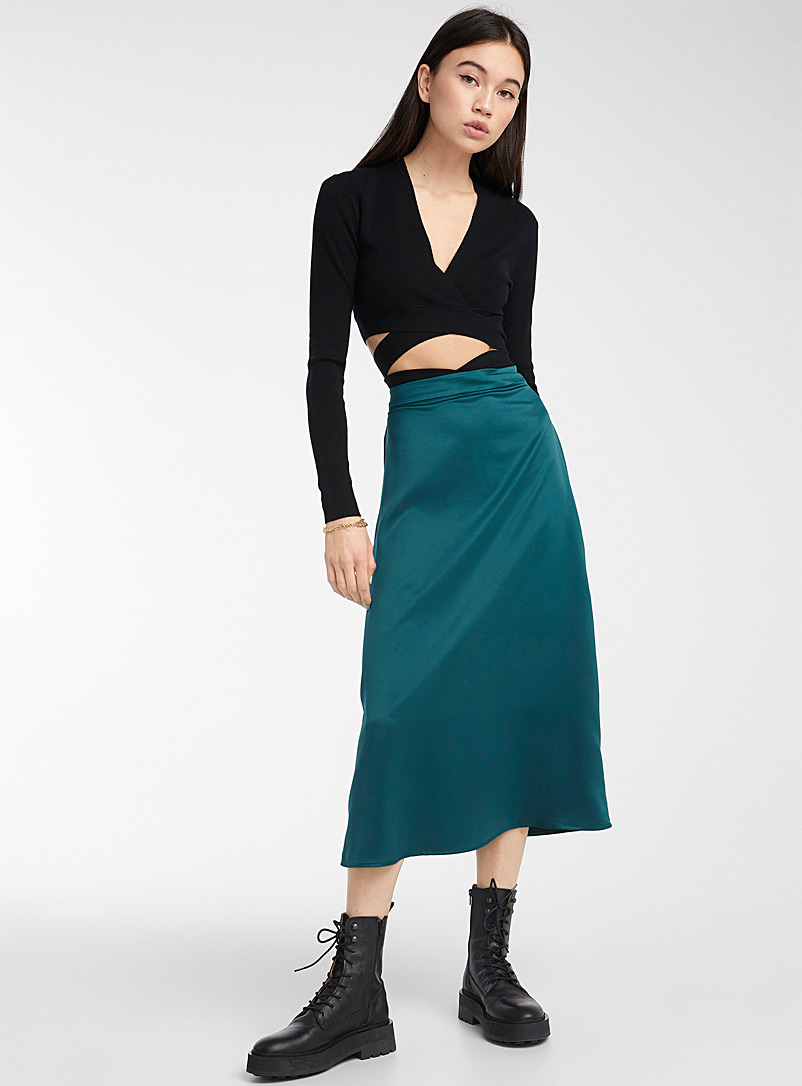 Twik Bottle Green Shiny satin midi skirt for women