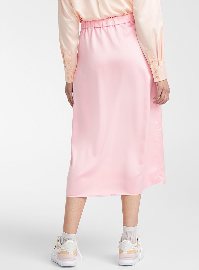 Twik Pink Shiny satin midi skirt for women