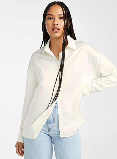 Twik White Loose satiny shirt for women