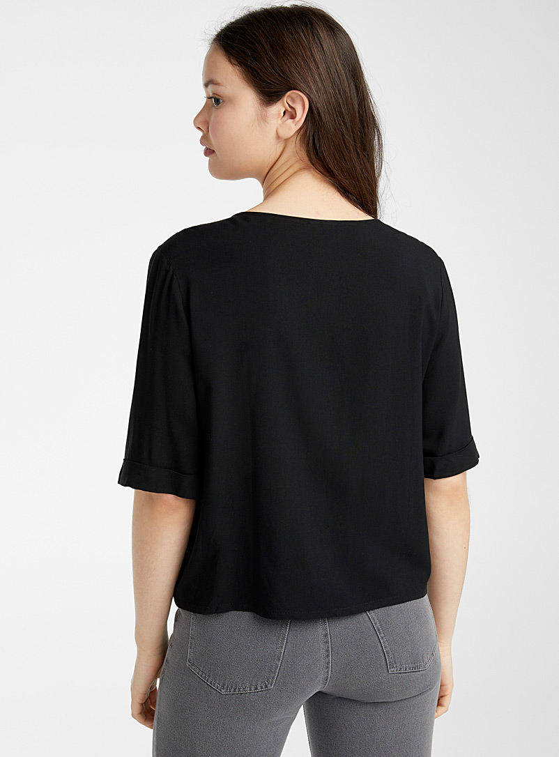 Twik Patterned Black Eco-friendly viscose buttoned cropped blouse for women