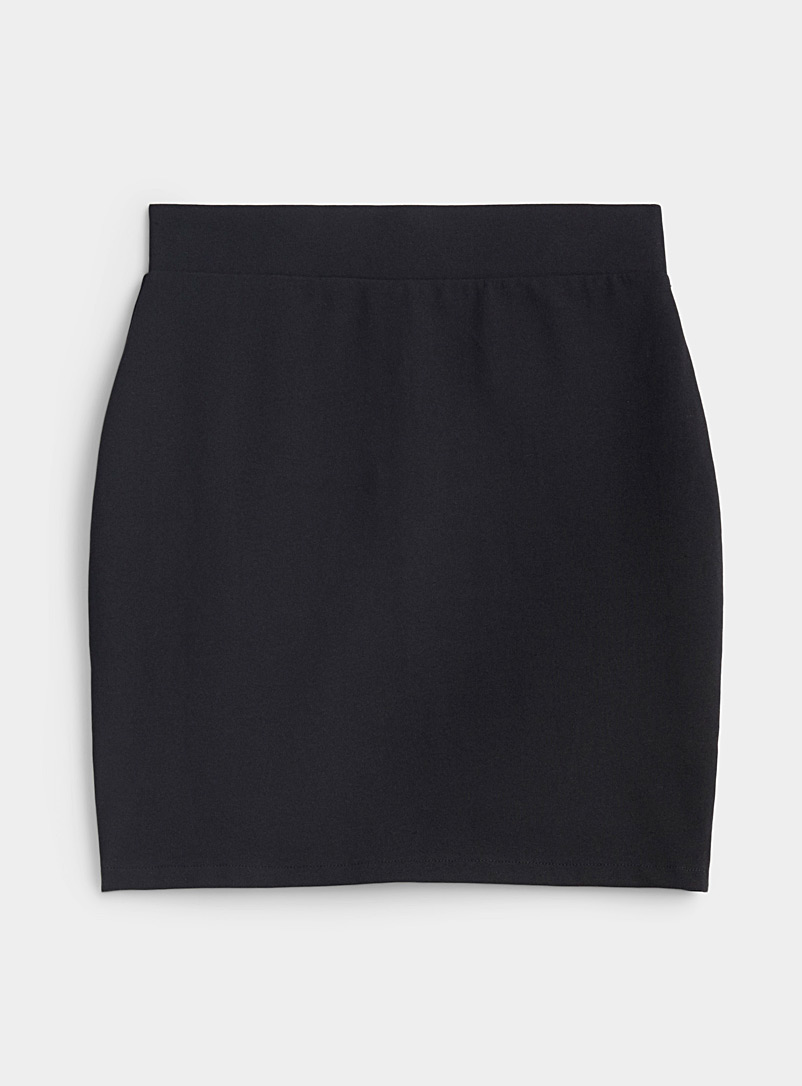 Twik Black Structured jersey fitted skirt for women