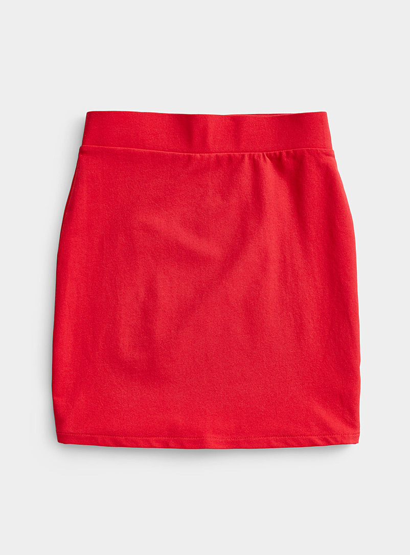 Twik Red Structured jersey fitted skirt for women