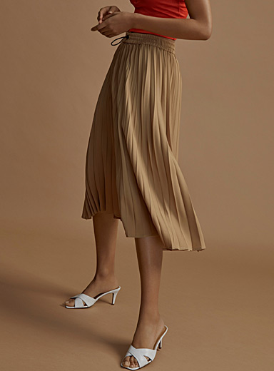 Icône Sand Recycled polyester tie-waist skirt for women