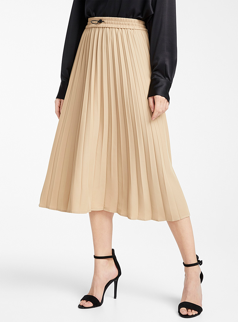 Icône Black Recycled polyester toggle-waist skirt for women
