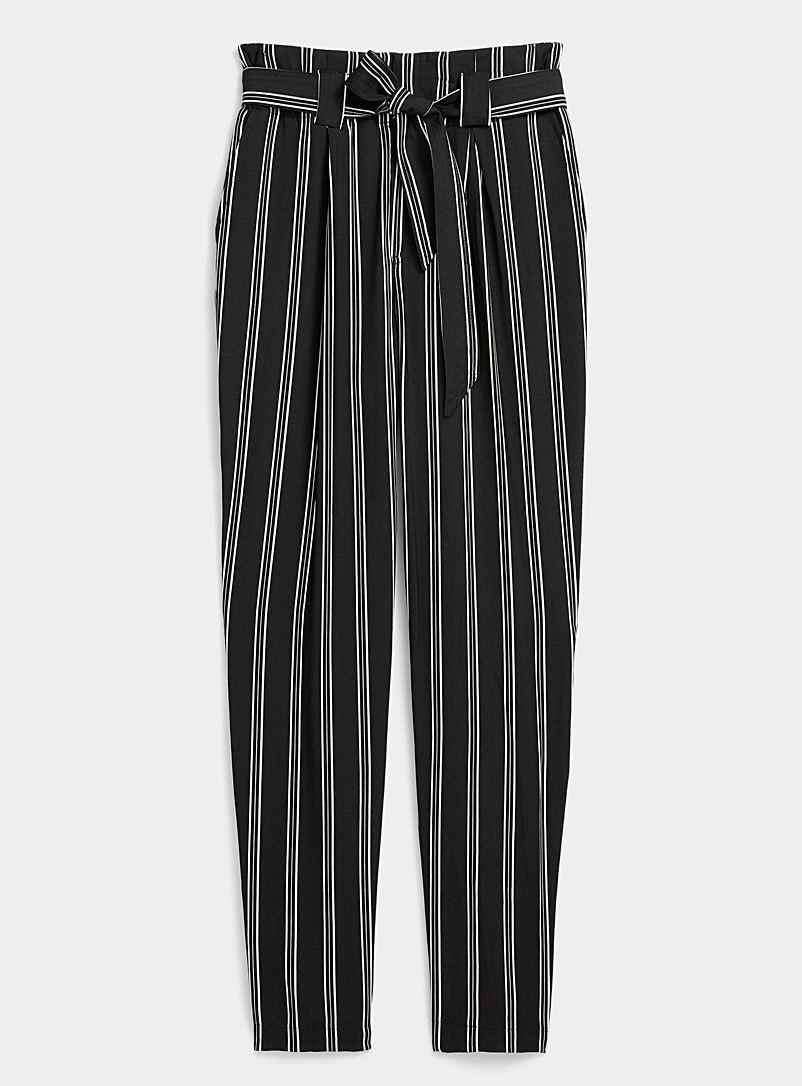 Twik Patterned Black Tie-waist paper bag pant for women