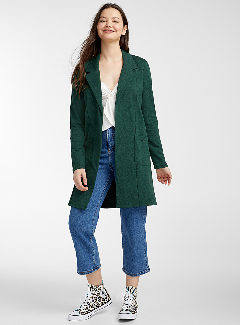 Twik Bottle Green Long open jersey jacket for women