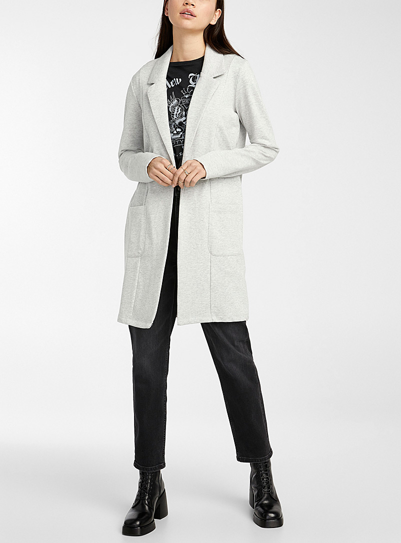 Twik Dark Grey Long open jersey jacket for women