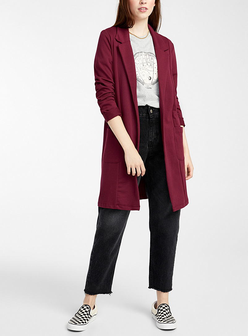 Twik Ruby Red Long open jersey jacket for women
