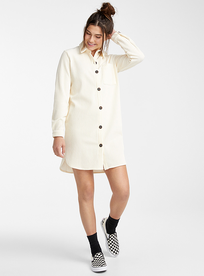 Twik Ivory White Corduroy shirtdress for women
