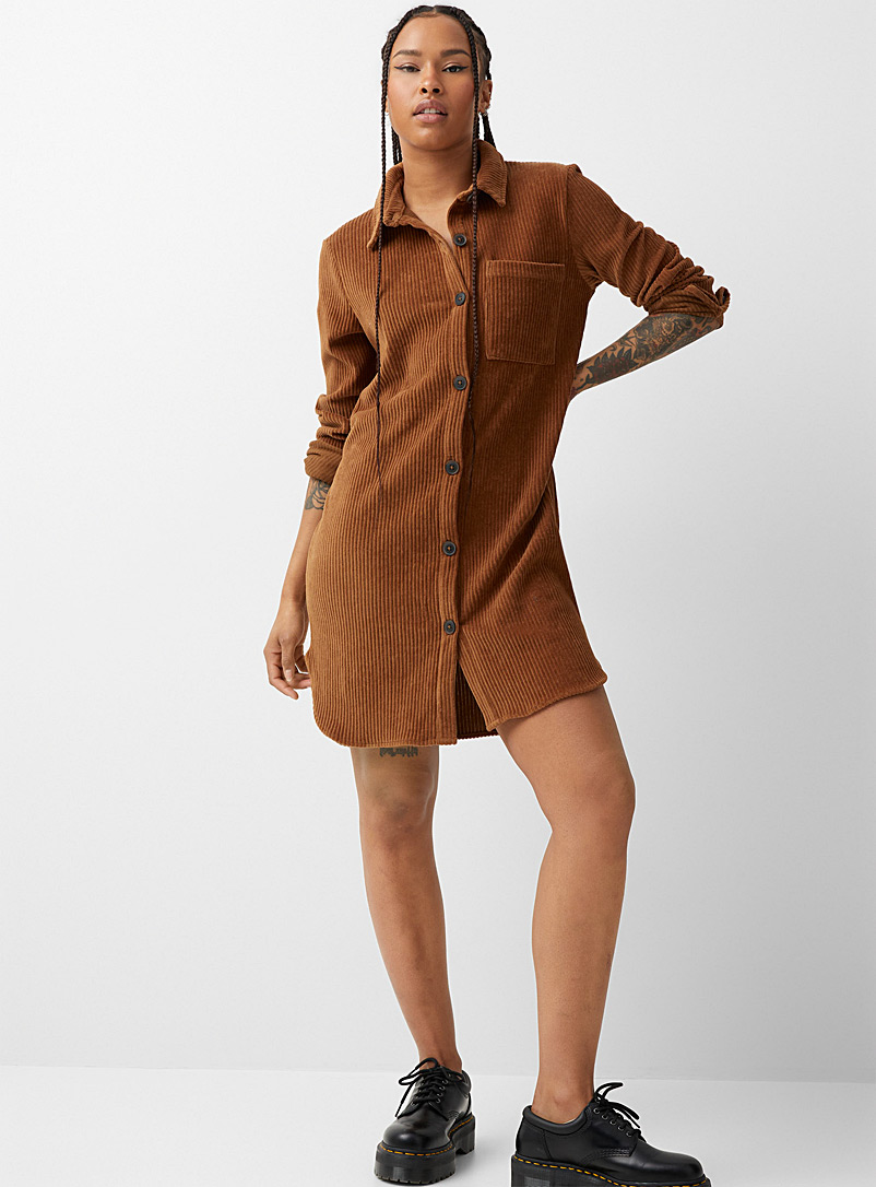 Corduroy shirtdress - Straight - Fawn