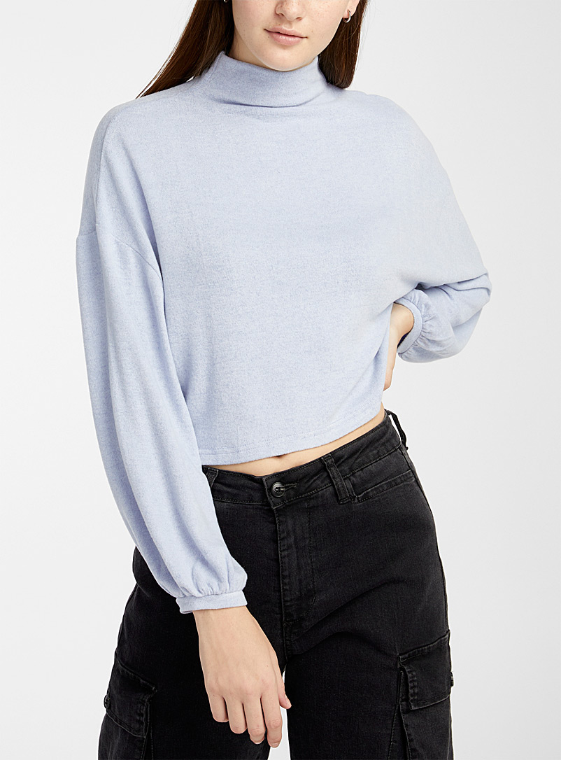 Bubble-sleeve mock-neck tee
