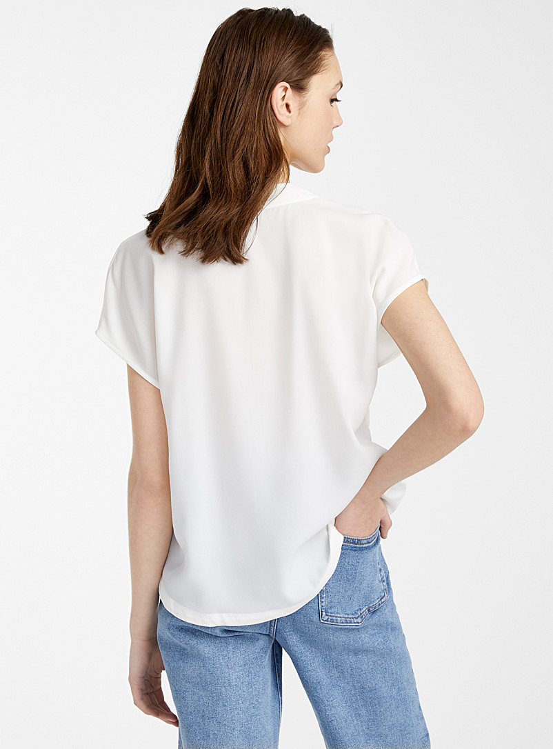 Recycled polyester V boxy blouse - Crop Tops - White