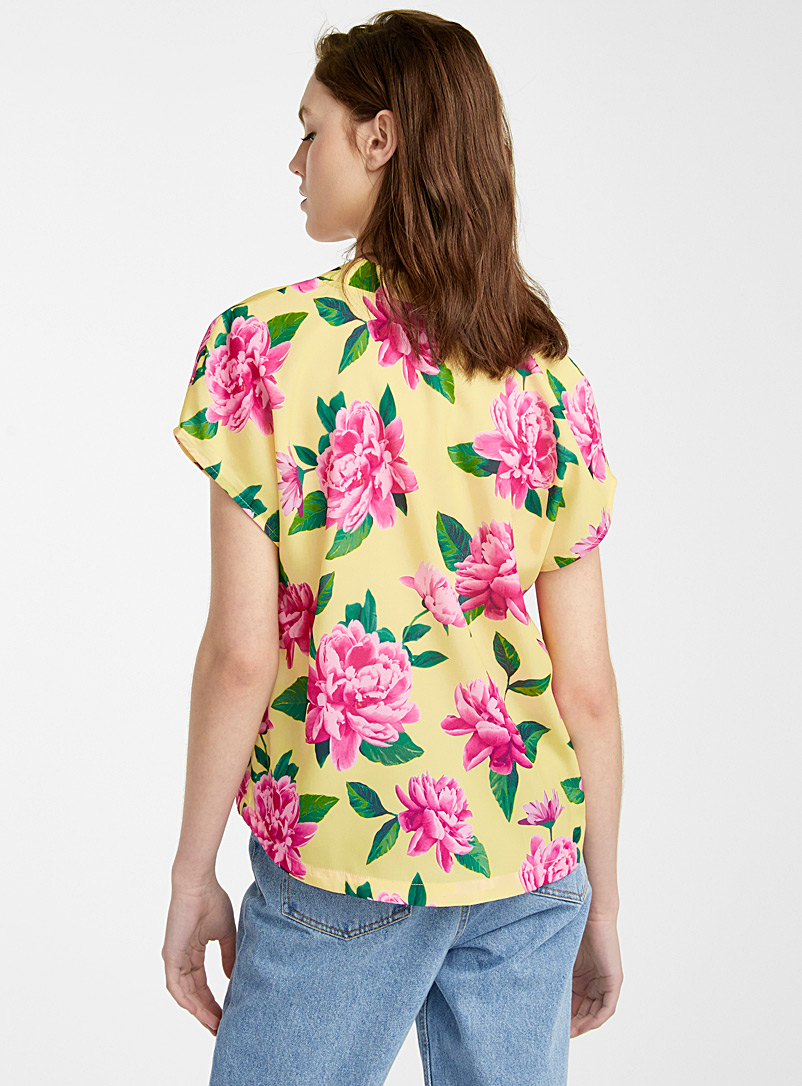 Recycled polyester V boxy blouse - Crop Tops - Patterned Yellow