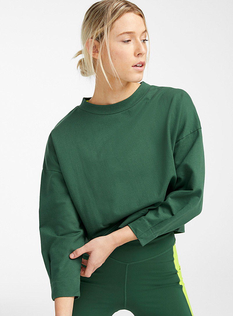 I.FIV5 Mossy Green Slit back terry sweatshirt for women